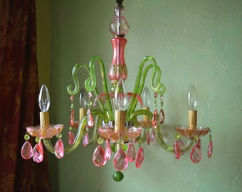Crystal Chandelier Lighting, Pink and Green, One of a Kind, Layaway Available