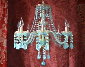 Chandelier Lighting, Aqua and Gold Crystal, One of a Kind, Layaway Available
