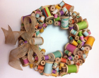 Colorful Spool Wreath with Burlap Bow