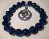 Om Metal Charm with Blue Pearls- Beaded Stretch Bracelet  (408)