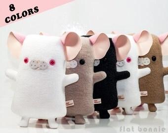 Rat plush stuffed animal, Mouse plush rat toy, Kawaii mouse stuffy doll, Cute pet rat fleece plushie, Handmade animal lover gift Flat Bonnie