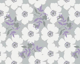 Lavishmint - Grey Fresh Picked Flowers by Jackie  McFee from Camelot Fabrics