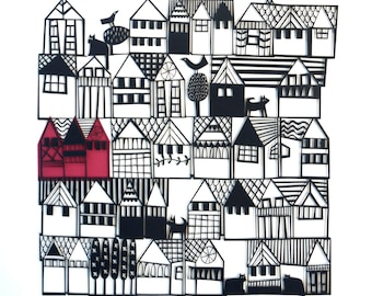 HILLSIDE Architectural Papercut of Houses on a Hill / Paper Cut for Scandi Lover / Paper Cutting Wall Art / Black and White Art / Papercut