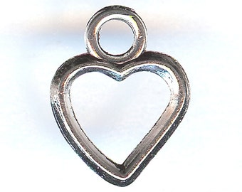 ONE - Silver Plated Charm. Two Sided HEART Outline.