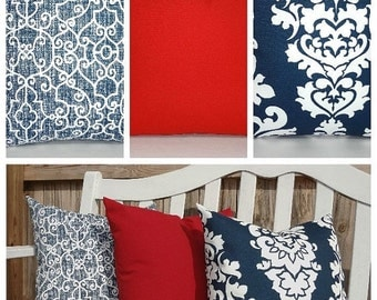HARVEST SALE OUTDOOR Pillow Cover Navy Blue Damask Solid Red Pillow Cover Deck Patio Pillow Cover Choose Size