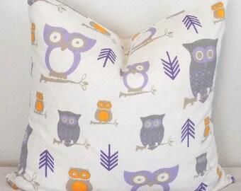 Wisteria Lavender Owl Hooty Pillow Cover Decorative Throw Pillow Cover Purple Owl Pillow Cover 18x18