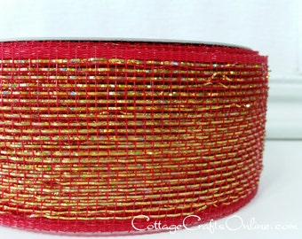 "SALE! Christmas Mesh Ribbon, 2 1/2"" Red and Metallic Gold Duo Tone Mesh Netting - TWENTY FIVE Yard Roll -  Decorative Mesh Ribbon"