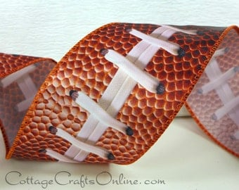 """Wired Edge Ribbon, 2 1/2""""  Football Ball and Laces Print, Brown - THREE YARDS -  """"Touchdown"""" Sports, Fall Craft Wire Edged Ribbon"""