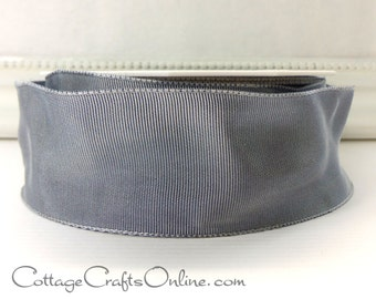 "Wired Ribbon, 1 1/2"" wide, Pewter Grey Taffeta - TWENTY SEVEN YARD Roll - ""Lyon"" Dark Silver  Wedding, Floral Craft Wire Edged Ribbon"