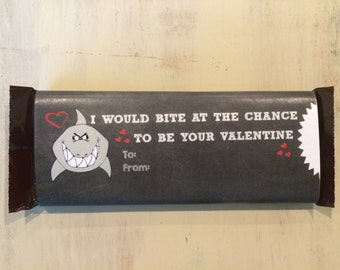 Shark Large {1.55 oz.} Candy Bar Wrapper Valentine Enter Your Own Text
