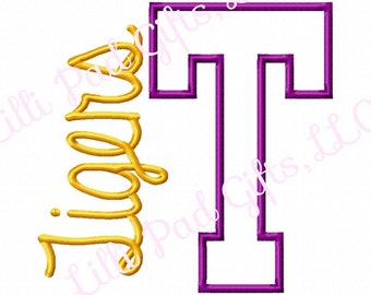 T-Tigers-side - Applique - Machine Embroidery Design - 7 Sizes