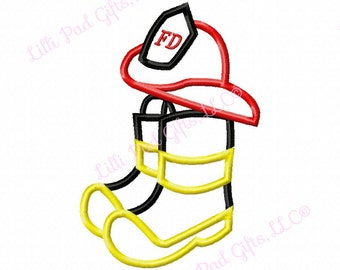 Fireman Hat and Boots - Applique - Machine Embroidery Design - 5 sizes