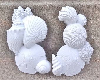 Bright White Seashell Wall Hangings Decor Coral Beach Cottage Chic Set Pair
