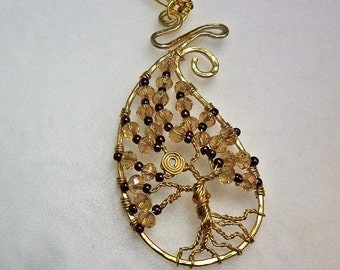 Wire and Crystal Tree of Life - Tree of Life Pendant - Unique Design - by ChicArtistique