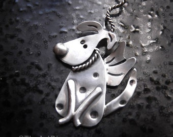 Wonderful Wee Ones With Wings 'Rufus the Rescue' recycled sterling silver winged dog with Leash Pendant