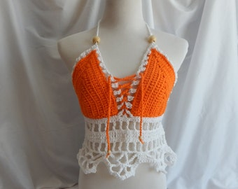Crochet Halter Top - Sexy Lace Up Boho Festival Top With Beads - Orange and White