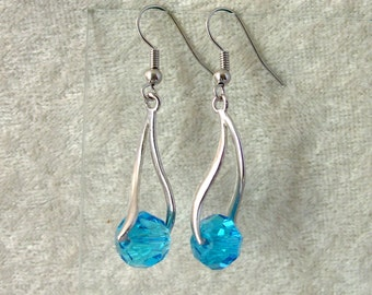 Crystal Earrings - Aqua Blue