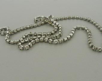 "Rhinestone Silver Tone Necklace 17"" Long."
