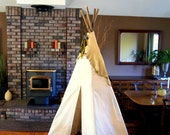 7-8ft tribal teepee with hand painted historic detail