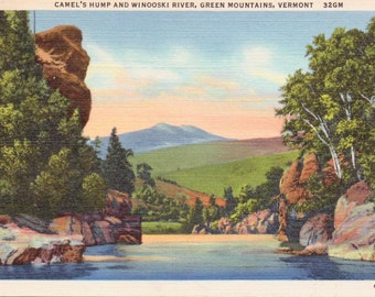 Camel's Hump, Winooski River, Green Mountains, Vermont - Linen Postcard - Unused (A3)