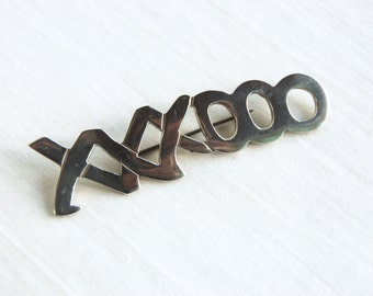 XOXO Brooch Pin Vintage Mexican Sterling Silver Hugs and Kisses XXXOOO Romantic Love Jewelry