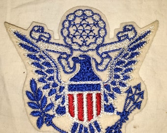 Vintage Patch Eagle Crest Military symbol school USA US