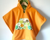 Reversible Car Seat Cape Poncho (Orange Green Garden) Kids Hooded Fleece Poncho Cape with ears