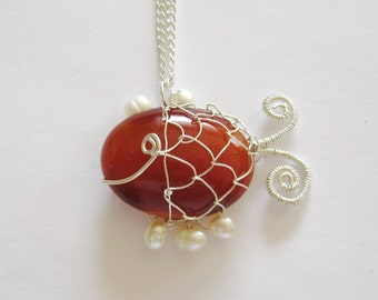 Smiling Fish Necklace, Carnelian Agate Necklace, Wire Wrapped Pendant, Sterling Silver Pendant, GemSalad Jewelry