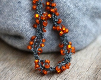 Short beaded necklace Orange grey twisted linen necklace with glass beads Crochet Rustic Natural Bohemian jewelry Boho chic Gift for her