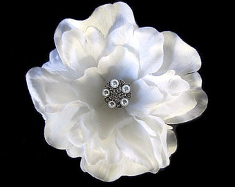 Bridal White Fascinator Hair Clip Pearl Rhinestone -PETRA