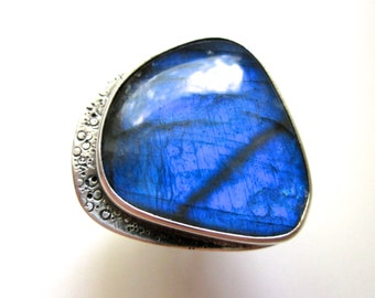 All the Colors of the Dark - mystical flashy ultraviolet dark blue labradorite stone & weathered sterling silver metalwork bezel art ring