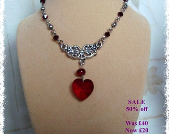SALE - Red Swarovski Heart Necklace
