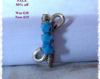 SALE - Swarovski Wire Work Ring - Cyan