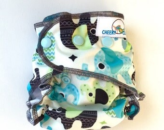 "One Size Cheeky Cloth Swim Diaper ""Designer Elephants"""