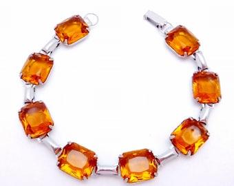 Vintage Sterling Silver Amber Glass Glamour Bracelet 22416