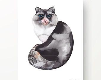 CAT MONOCHROME Watercolour print