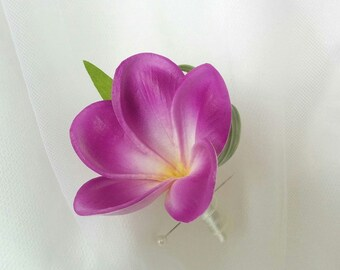 Wedding Natural Touch Purple Plumeria Frangipani Silk Boutonniere