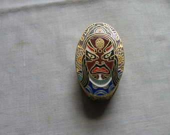Enameled Brass Pill Trinket Box