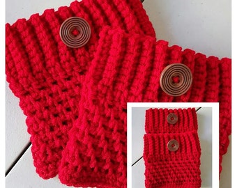 RED Color Women's Crochet Boot Cuffs, Boot Toppers, Boot Socks, Leg Warmers