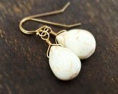White Turquoise Earrings - Gemstone Jewelry - Southwestern - Everyday - Gold Jewellery