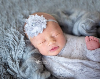 Flower Headband and Newborn Wrap, Photography Prop, Newborn Stretch Wrap, Baby Headband, Newborn Lace Wrap, Newborn Photo Prop, Stretch Wrap