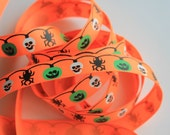"5/8"" Halloween Ribbon - Decorative Grosgrain Ribbon - Neon Orange - 2 Yards"