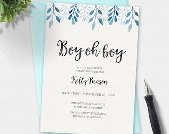 Boy Baby shower invitation, Boy oh Boy, watercolor Invitation, custom invitation, printable invitation, simple elegant invitation, floral