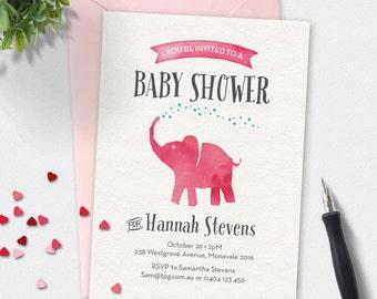 Baby shower invitation, Elephant Baby shower invitation, Girl baby shower invitation, baby girl, custom invitation, printable invitation