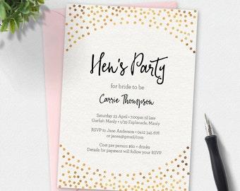 Bridal shower invitation, gold foil Invitation, Hen's party, custom invitation, printable invitation, bachelorette party, hens night invite