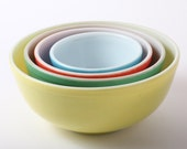 Pyrex Mixing Bowls, Set of 4 Multicolored Nesting Bowls