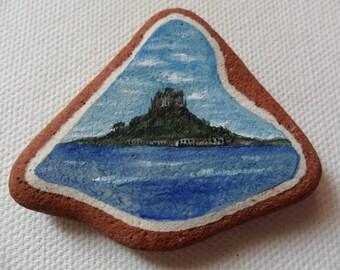St Michael's Mount, Cornwall, UK - Original miniature painting on English sea pottery