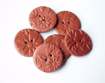 """19 mm Polymer Clay Buttons, set of 6 - 3/4"""" sewing buttons"""