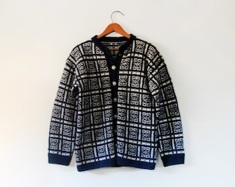 Vintage Norwegian Wool Cardigan Sweater Navy Blue Ski / Fair Isle Women's Medium
