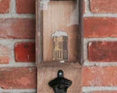 Bottle Cap Holder and Cast Iron Bottle Opener with Beer Decal